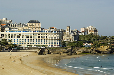 The beach with the congress center in the background, Biarritz, Cote Basque, Basque country, Pyrenees-Atlantiques, Aquitaine, France, Europe