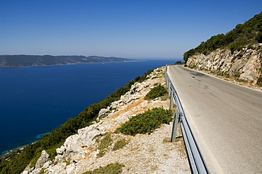 View from road near Lefki, Ithaka, (Kefalonia in distance), Ionian Islands, Greece, Europe