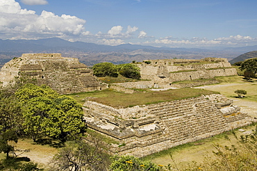 Looking west in the ancient Zapotec city of Monte Alban, near Oaxaca City, Oaxaca, Mexico, North America