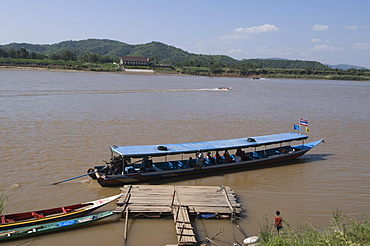 Boat on Mekong River, taken from Laos to Thailand on the opposite bank, Laos, Indochina, Southeast Asia, Asia