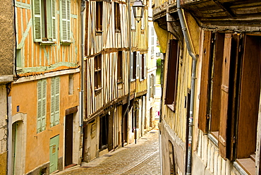 Medieval houses facades, half timbered, old town, Macon, Saone et Loire, Bourgogne (Burgundy), France, Europe