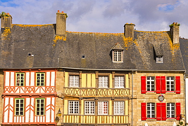 Half timbered houses, old town, Treguier, Cotes d'Armor, Brittany, France, Europe