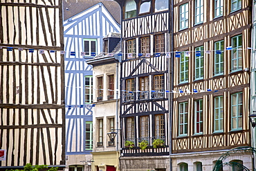 Half timbered Norman facades, Rouen, Normandy, France, Europe