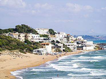 Beach and town of Marinella di Selinunte, Sicily, Italy, Mediterranean, Europe