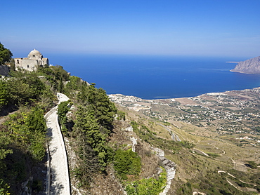 San Giovanni Church and view of coastline from Town Walls, Erice, Sicily, Italy, Mediterranean, Europe