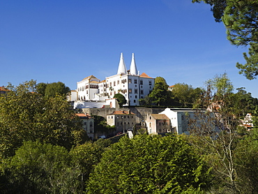 View of the National Palace with its conical towers, Sintra, near Lisbon, Portugal, Europe