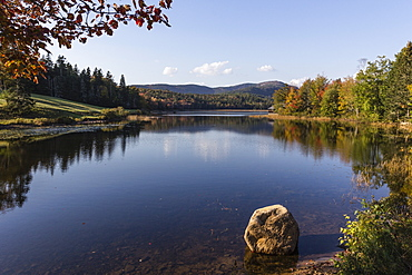 Boat house by a pond in autumn, near Bar Harbor, Mount Desert Island, near Arcadia National Park, Maine, New England, United States of America, North America