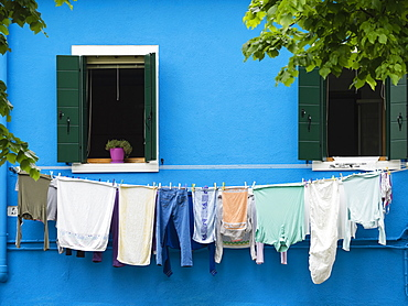 Washing on the line, Burano, Venice, Veneto, Italy, Europe