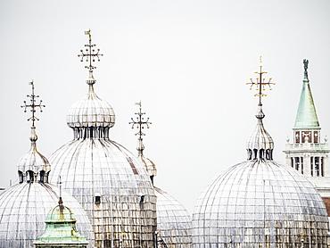 The domes of the Basilica in St. Mark's Square, Venice, UNESCO World Heritage Site, Veneto, Italy, Europe