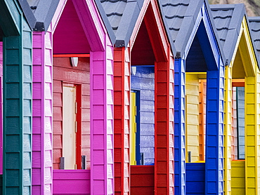 Beach huts, Saltburn-by-the-Sea, North Yorkshire, England, United Kingdom, Europe