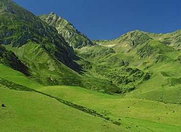 Landscape of mountain slopes near Arreau in the Pyrenees, Midi-Pyrenees, France, Europe