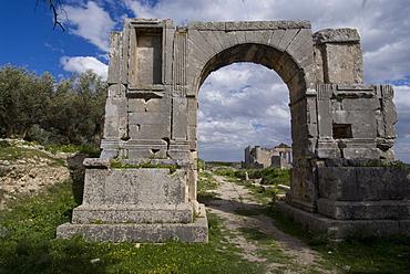 Arch of the Emperor Alexander Severus, Roman site of Dougga, UNESCO World Heritage Site, Tunisia, North Africa, Africa