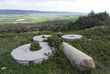 Wheels of an ancient Roman olive oil press, Dougga, Tunisia, North Africa, Africa