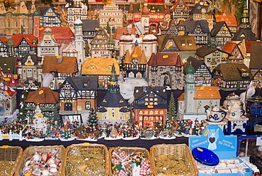 Ceramic houses, Weihnachtsmarkt (Children's Christmas Market), Nuremberg, Bavaria, Germany, Europe