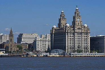 View of the Liverpool skyline and the Liver Building, from the Mersey ferry, Liverpool, Merseyside, England, United Kingdom, Europe