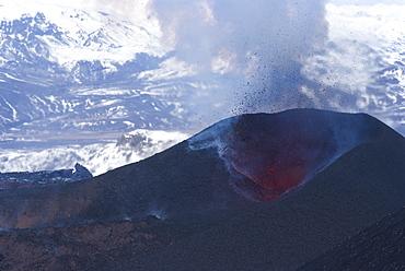 Lava erupting from Eyjafjallajokull volcano, Iceland, Polar Regions