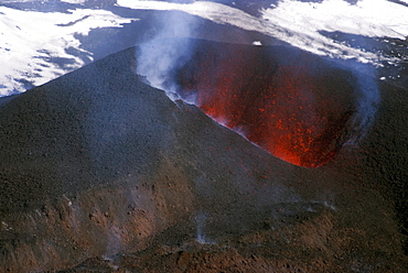 Looking into the cinder cone of erupting Eyjafjallajokull volcano, Iceland, Polar Regions