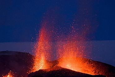 Fountaining lava from Eyjafjallajokull volcano, Iceland, Polar Regions
