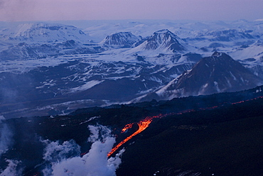 Lava flowing down mountain, Eyjafjallajokull volcano, Iceland, Polar Regions