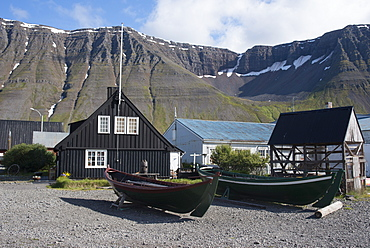 Old boats and houses at Isafjordur, West Fjords, Iceland, Polar Regions