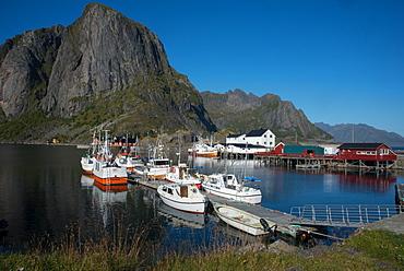 View of Hamnoya Harbour, Lofoten Islands, Nordland, Norway, Scandinavia, Europe