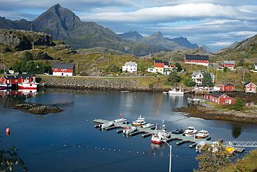 View of Sund Harbour, Lofoten Islands, Nordland, Norway, Scandinavia, Europe