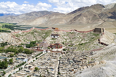 View from Fort, including Kumbum, Gyantse, Tibet, China, Asia