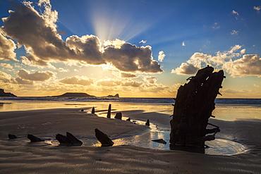 Helvetia Wreck, Rhossili Bay, Gower, Wales, United Kingdom, Europe