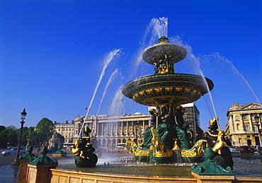 Elevation of the Maritime Fountain and Hotel de Crillon, Place de la Concorde, Paris, France