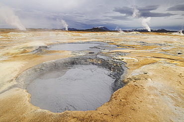 Namaskard thermal area, Hverarond, near Lake Myvatn, North area, Iceland, Polar Regions