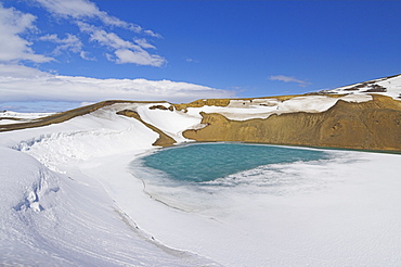 Snow covered frozen Viti (Hell) crater near Krafla power plant, Lake Myvatn, North area, Iceland, Polar Regions