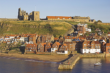 Abbey ruins, church, sandy beach and harbour, Whitby, North Yorkshire, Yorkshire, England, United Kingdom, Europe