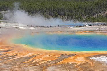 Grand Prismatic Spring and Excelsior Pool behind, Midway Geyser Basin, Yellowstone National Park, UNESCO World Heritage Site, Wyoming, United States of America, North America