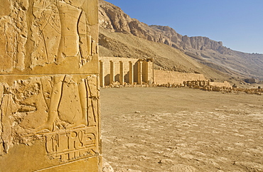 Hieroglyphics in relief on a column on the second terrace of the Temple of Hatshepsut, Deir el Bahari, West bank of the River Nile, Thebes, UNESCO World Heritage Site, Egypt, North Africa, Africa