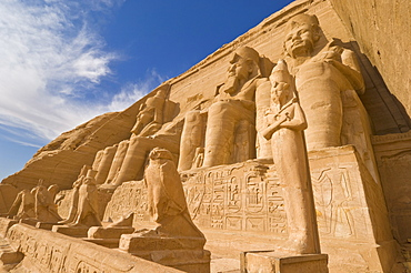 Giant statues of the great pharaoh Rameses II outside the relocated Temple of Rameses II at Abu Simbel, UNESCO World Heritage Site, Egypt, North Africa, Africa