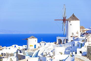 Windmill and traditional houses, Oia, Santorini (Thira), Cyclades Islands, Aegean Sea, Greek Islands, Greece, Europe