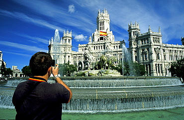 Spain, Madrid, The Cybeles Fountain & Postal Museum Being Photografied With A Phone Camera