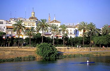 Spain, Andaloucia, Sevilla, Cruise On The Guadalquivir River, Rower