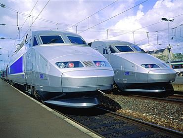 France, Pays De La Loire, Loire Atlantique (44), Nantes, At The Railway Station Two Tgv Trains Engines (High Speed West Train)