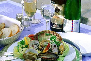 Croatia, Dalmatia, Dalmatian Coast, Fortified City Of Dubrovnik, Local Seafood Plate