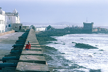 Morocco, Essaouira, Ancient Fortified Portuguese City, The Ramparts Overlooking The Atlantic Ocean, Donjon And Fishing Harbour In Background