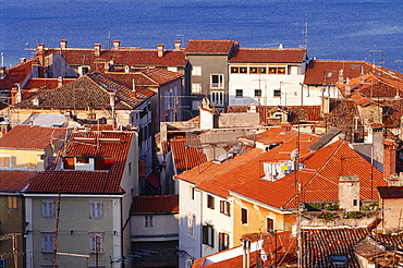 Slovenia, Adriatic Coast, Piran, Overview Of Tiled Roofs, Sea At Back