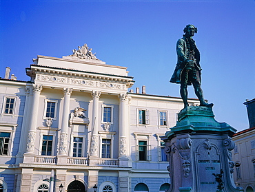 Slovenia, Istria On Adriatic Coast, Piran, The Classical Style City Hall Facade With A Venetian Lion, Monument To Composer Tartini