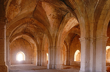 Syria, 30 Km East Of Tartus In The Mountain, The Town Is Dominated By A Heavy Stone Donjon Built By The French Crusaders At The End Of Xii Th Century And Known As Chastel Blanc, Interior View Of The Last Floor Vaulted Room