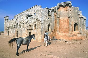 Syria, Limestone Region, Dead Village Of Qalb Loze, First Christian Basilica Built In Byzantine Syria In V Th Cent, Druze Rider And Horse