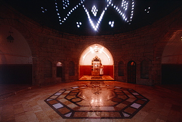 Syria, Aleppo, The Famous Hammam Al Habbadiye Built In Xivth Cent, And Rehabilitated As Luxury Baths , Under The Cupola At Back A Man Washing At A Tap