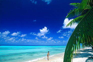 French Polynesia, Tuamotu Archipelago, Atoll Of Rangiroa, Lagoon And Beach, Boy Bathing