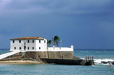 Brazil, Salvador De Bahia, In Front Of Barra Beach On An Islet The Fortress Forte Santo Antonio Da Barra