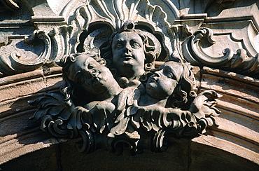 Brazil, Minas Gerais, On Top Of A Hill The Baroque Church Igreja De Sao Francisco De Assis, Sculpture With Three Angels Heads Above The Main Gate