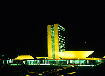 Brazil, Goias, Brasilia, The Administrative Capital Created Par President Kubitschek And Designed By Brasilian Town Planner Lucio Costa & Architect Oscar Niemeyer, The Congresso Building At Night